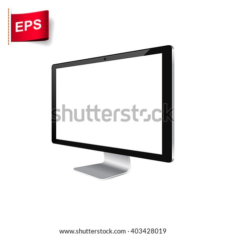 computer monitor icon, computer display blank, isolated computer display screen - stock vector