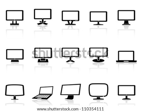 computer monitor icons set - stock vector