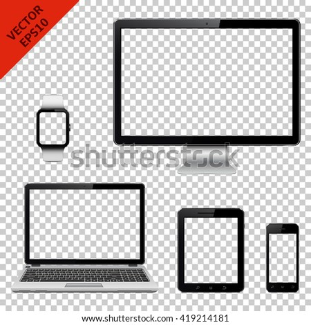 Computer monitor, laptop, tablet pc, mobile phone and smart watch with transparent screen. Isolated on transparent background. - stock vector
