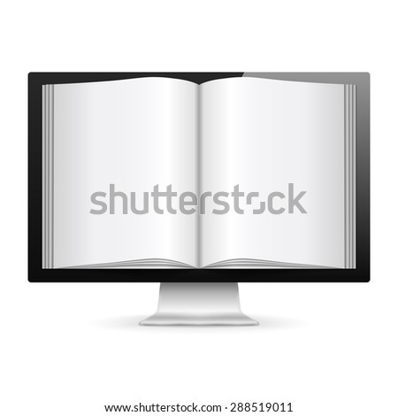 Computer monitor with open book with blank pages, e-book concept, vector eps10 illustration