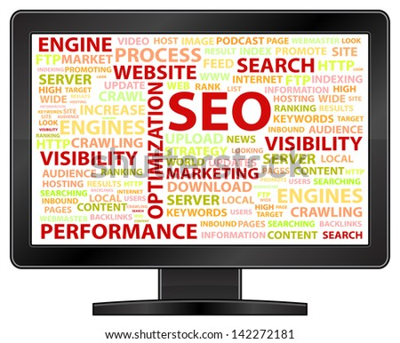 Computer Monitor With Search Engine Optimization Word Cloud