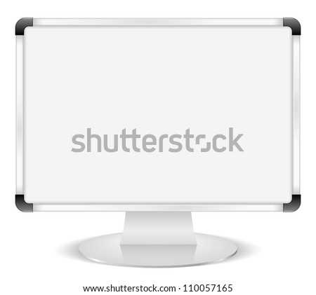 Computer monitor with whiteboard instead of screen, e-learning concept, vector eps10 illustration - stock vector