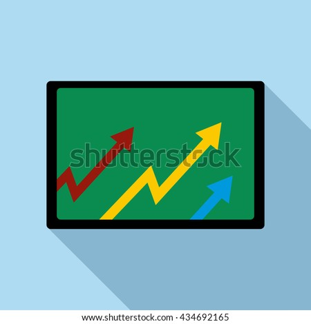 Computer monitor with with growing arrows icon - stock vector