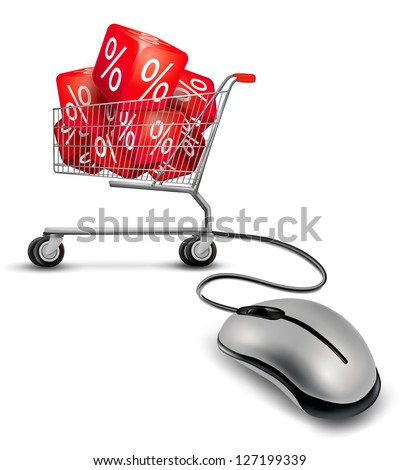 Computer mouse and a shopping cart with cube in it. concept of discount. Vector. - stock vector