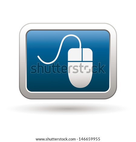Computer mouse icon on the blue with silver rectangular button. Vector illustration - stock vector