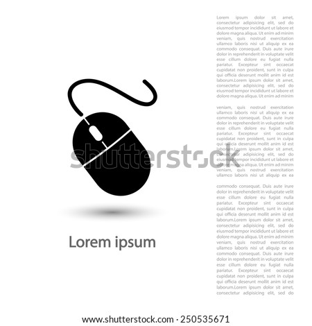 Computer mouse icon, vector illustration. Flat design style - stock vector