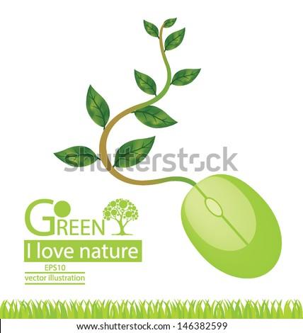 Computer mouse. Tree design. Go green. Save world. vector illustration. - stock vector