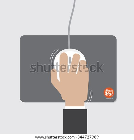 Computer Mouse With Mat Vector Illustration - stock vector