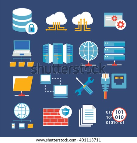 computer network and database flat icon - stock vector