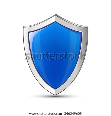 Computer network and IT infrastructure protection concept. Vector illustration of blue glossy shield - stock vector