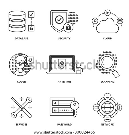 Computer network and security vector icons set modern line style - stock vector