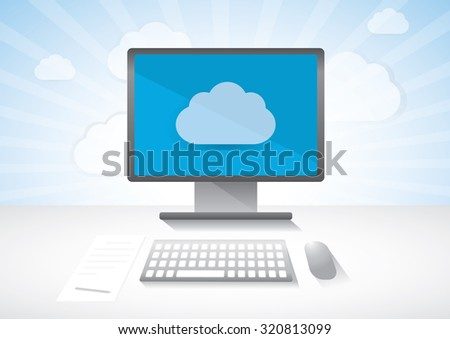 Computer network communication device, wireless cloud connection. display keyboard and mouse. Vector draw illustration.  - stock vector