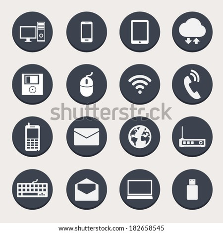 Computer Network Connections Icons Set - stock vector