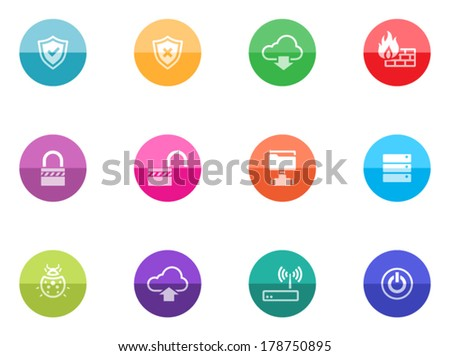 Computer network icon series in color circles. - stock vector