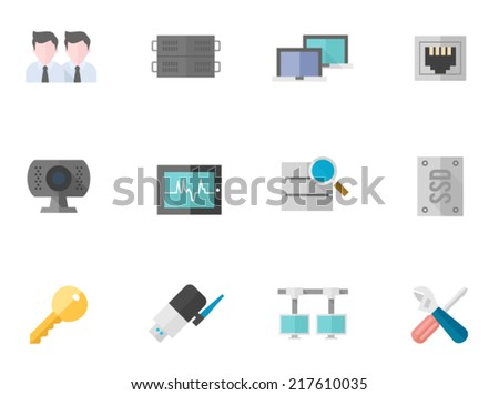 Computer network icon series in flat colors style.  - stock vector