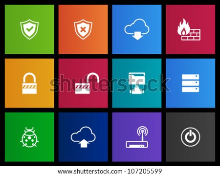 Computer network icon  series in Metro style. - stock vector