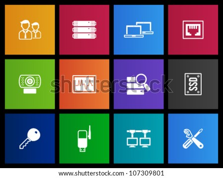 Computer network icon series in Metro style - stock vector