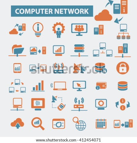 computer network icons  - stock vector