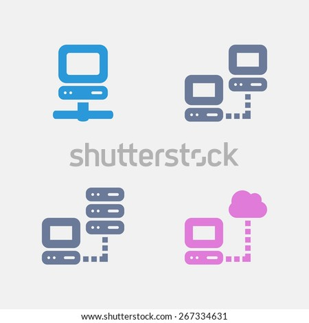 Computer Network Icons. Ants Series. Simple glyph style icons designed on a 32x32 pixel grid. - stock vector