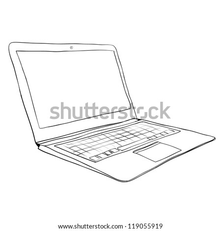 computer notebook sketch vector - stock vector