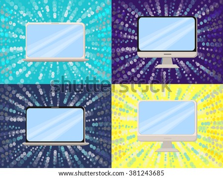 Computer, notebook, tablet flat vector set. Modern technology flat icons. Computer monitor. Laptop computer. Communication concept vector. Network flat design. Innovation internet devices banners. - stock vector