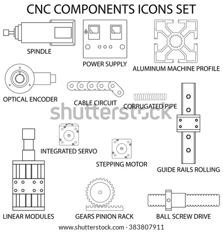 stock vector computer numerical control cnc milling machines components flat icons set 383807911 milling machine stock vectors, images & vector art shutterstock Cnc Axis Diagram at honlapkeszites.co