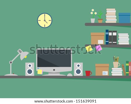 computer on desk - stock vector