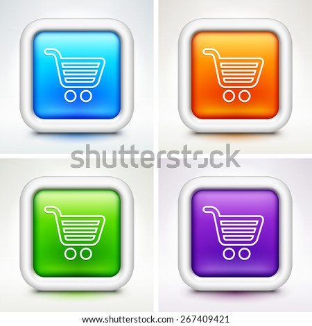 Computer Options Shopping Cart on Multi Color Square Buttons