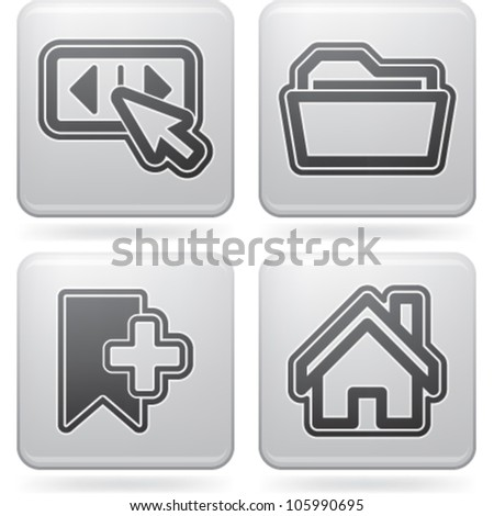 Computer parts and accessories, pictured here from left to right: Forward/backward button, Folder, Bookmark, Home button. - stock vector