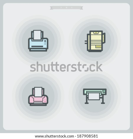 Computer parts and accessories, pictured here from left to right -  Laserjet Printer, Heavy duty Laserjet Printer, Inkjet Printer, Plotter.  - stock vector