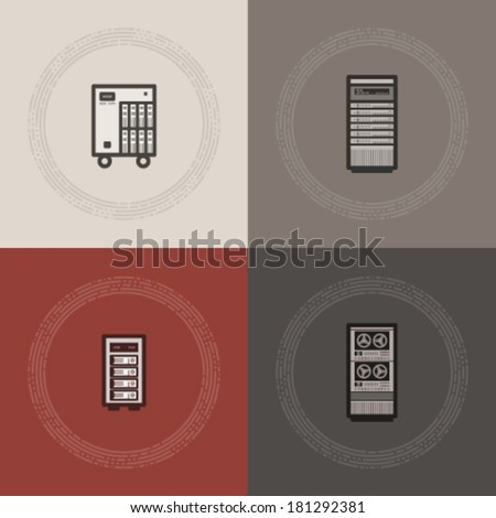 Computer parts and accessories, pictured here from left to right:  Small Internet Server, Server Rack Case, External RAID Disk, Data Center. - stock vector