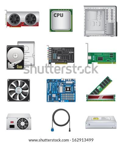 Computer parts icon set - stock vector