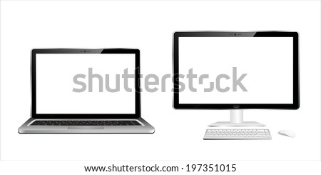 Computer pc and laptop - stock vector