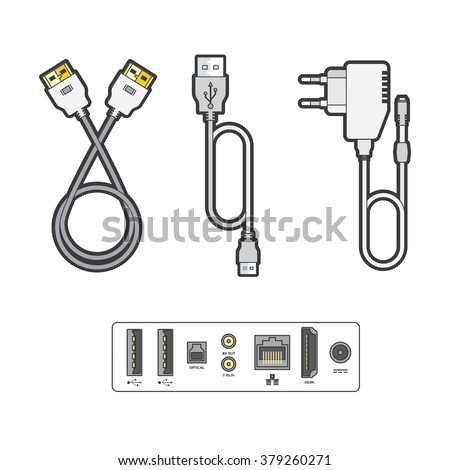 Computer peripherals: data cable, hdmi cable, power adapter. Connectors for Internet, video, audio, data cables. Detailed vector illustration. - stock vector