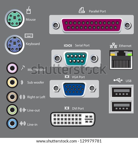 computer ports type, vector-illustration - stock vector
