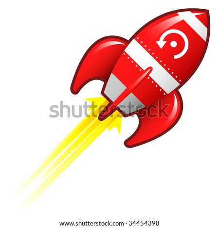 Computer refresh icon on red retro rocket ship illustration