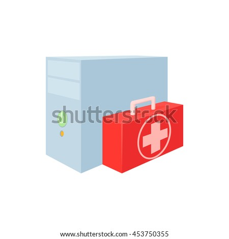 Computer repair icon in cartoon style isolated on white background. Technique symbol