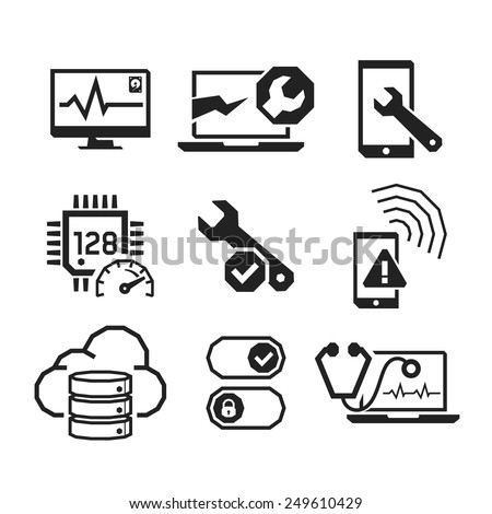 Computer repair icons set 01  // BW Black & White - stock vector