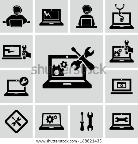 Computer repairs icons - stock vector