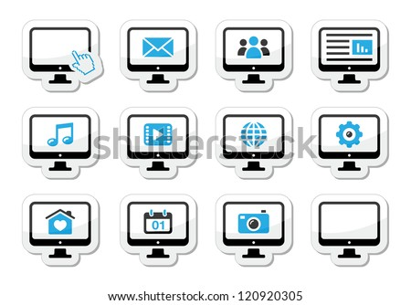 Computer screen icons set as labels - stock vector