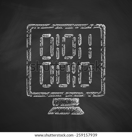 computer screen with binary icon - stock vector