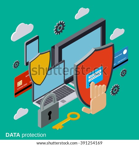 Computer security, data protection, privacy flat 3d isometric vector concept illustration - stock vector