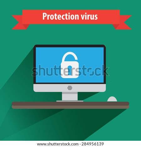 Computer security flat design vector. - stock vector