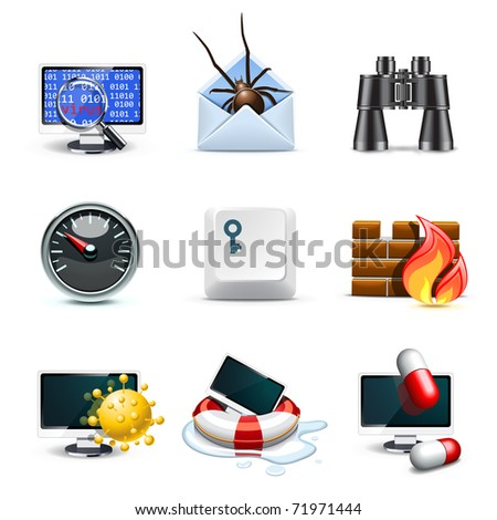 Computer security icons | Bella series - stock vector