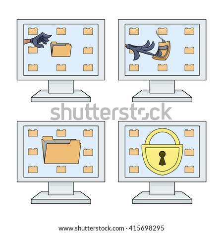 Computer security icons set - stock vector