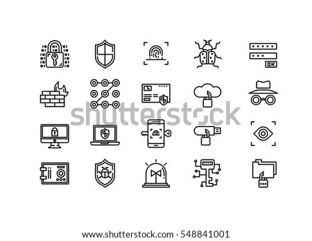 Computer security icons set