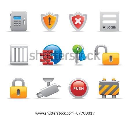 Computer security logo icons - stock vector