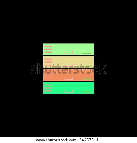 Computer Server. Color vector icon on black background - stock vector