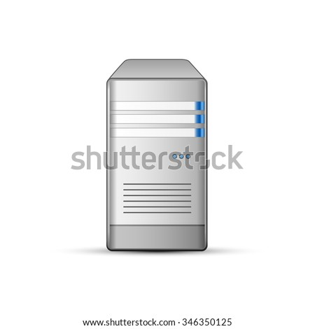 Computer server icon. Communication and hosting objects series. Vector illustration - stock vector