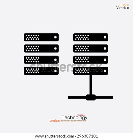 Computer Server icon.computer server.flat design.vector illustration. - stock vector